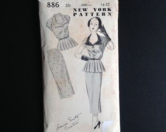 Early 1950s Two Piece Sewing Pattern, New York Pattern 886, Louise Scott Creation.  Peplum Top and Straight Skirt.  Size 14