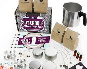 DIY Gift Kits Soy Candle Making Kit - Creates Colorful, Large Scented Candles for Adults (49-Piece Set)