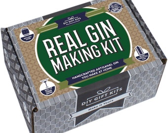 Real Homemade Gin Kit DELUXE~ DIY Gift Kits~  Stainless Steel Flask plus 12 spices!