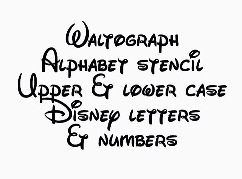 Disney waltograph stencil font full alphabet upper and lower case letters  numbers template airbrush paint fabric sign