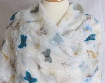 Light felt scarf, silk chiffon, butterflies