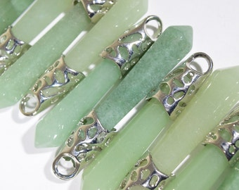 Aventurine pendant etsy green crystal pendant green aventurine pendant green point crystal healing crystal green stone pendant quartz pendant 2p182 aloadofball Choice Image
