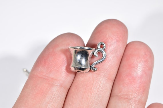 6 Mug charms antique silver tone FD60