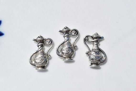 Blue Enamel Ornate Water Jug Charm Huge Sterling Silver Water Pitcher Charm Water Jug Charm Water Urn Charm for Charm Bracelets
