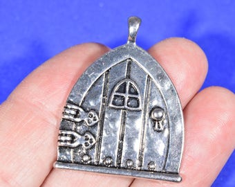 4 Silver Door Charms - Fantasy Door Charms - Fairy Door Charm - Witchu0027s Door Pendant - Door Earring Charms - Elf House Charms - CC1522 : door charm - Pezcame.Com