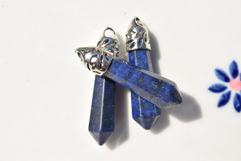 lasurite point pendant lapis crystal blue healing crystal SC488 Lazurite crystal pendant blue point crystal pendant silver bail