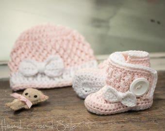 Crochet Hat Pattern and Crochet Booties Pattern with Bows, Crochet Baby Hat Pattern and Baby Booties Pattern for New Baby Girl, Pdf Pattern