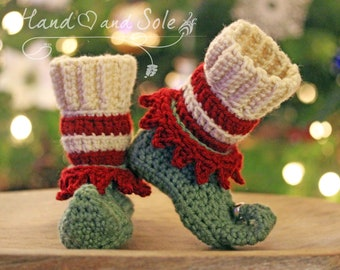 Crochet Pattern, Crochet Booties Pattern, Crochet Christmas Pattern, Elf Shoes Pattern, Crochet Shoes Pattern for Baby Toddler Youth Adult