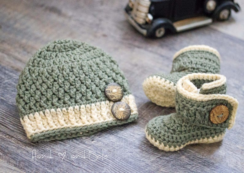 Crochet Baby Hat Pattern And Crochet Bootie Pattern Baby Etsy