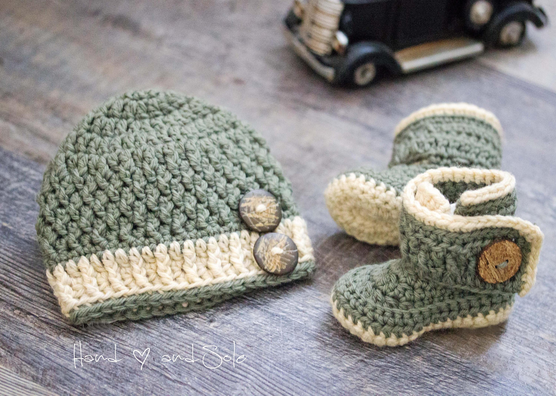 Crochet Baby Hat Pattern And Crochet Bootie Pattern Baby Etsy