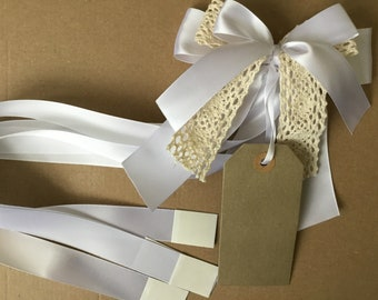 White satin cream lace gift,present wrap with tag- handmade-wedding,holy communion or christening