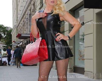 C + K black leather dress, PVC dress, mini dress, sheer décolleté, leather, very shiny, pleather, handmade, new