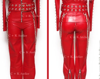 87f7face6dff C + K Leggings Leder Lack Leggings Hose, 2-in-1, Metall Zipper, elastisch,  handgefertigt