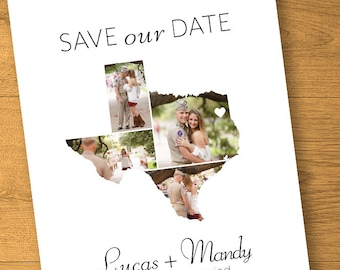 TEXAS - Save the Date Invitations - Wedding Rustic Personalized Engagement Photography Houston Austin Dallas