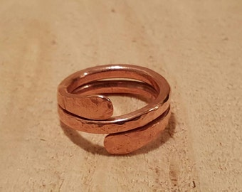 Copper hammered pinky ring