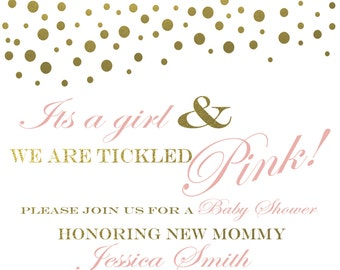 Tickled Gold and Pink Baby Shower Invitation