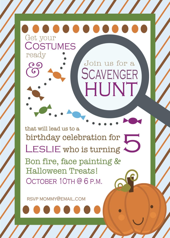 Fall Birthday Scavenger Hunt Invitation | Etsy