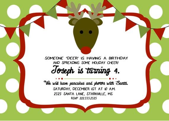 Alguien Ciervo Navidad Cumpleanos Invitacion Etsy - Ciervo-navidad