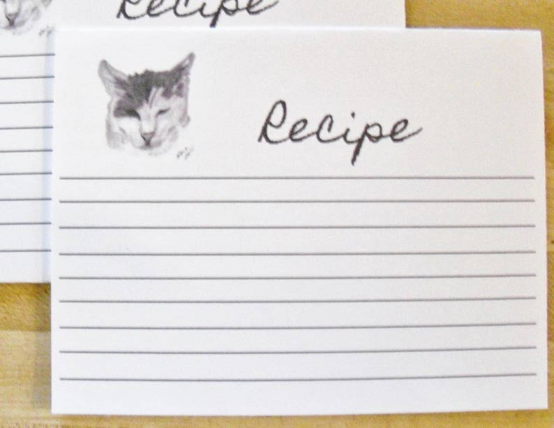 Cat Baking Recipe Card Set  Cat Lined Recipe Card Set