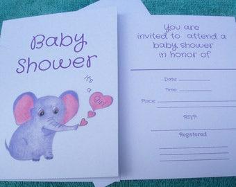 Baby Shower Invitations / Girl Baby Shower Invitations / Elephant Baby Shower Invitations / Girl Baby Shower / It's a Girl Baby Shower/ Art