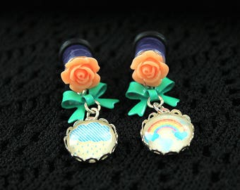 Pretty rainbow and flower plugs  gauges 8mm 0G stretched ears dangles