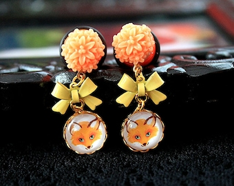 """Pretty fox  and flower plugs  gauges 12mm 1/2""""  stretched ears dangles"""