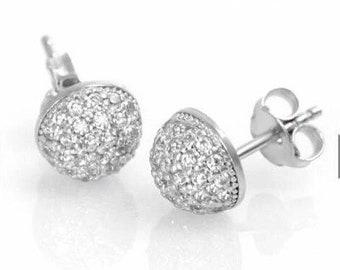 d4c52b7c5 925 Sterling Silver Micro Pave Half Ball Stud Earrings