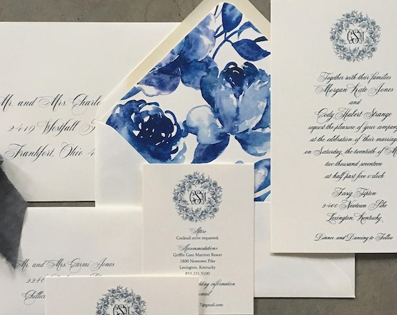Classic Monogram with Peony Wreath wedding invitations