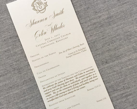 Victorian Monogram tea length wedding ceremony program