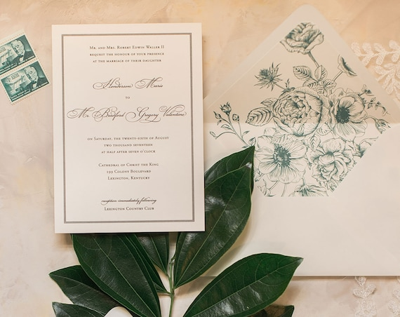 Framed Simplicity wedding invitation with equestrian details