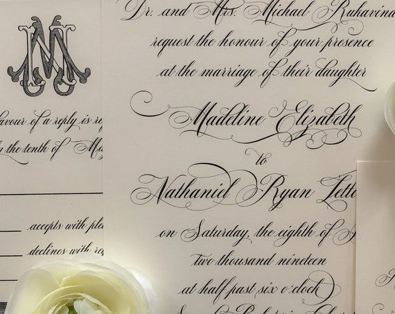 Traditional Script with Victorian Monogram Sample