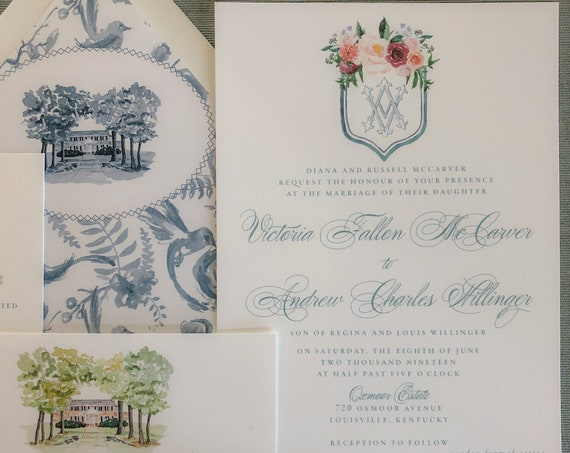 Watercolor Floral Crest and Victorian Monogram Sample