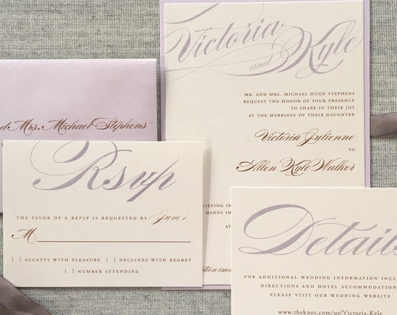 Lilac and Copper Bold Calligraphy