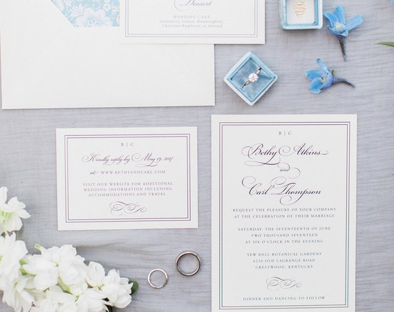 Flourish and Frame wedding invitation