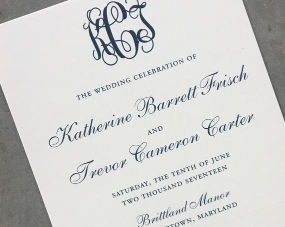 Classic Monogram tea length wedding ceremony program