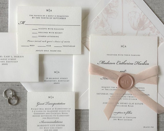 Letterpress Traditional Duet wedding invitation with wax seals