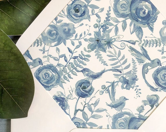 Vintage French Blue Toile Envelope Liners