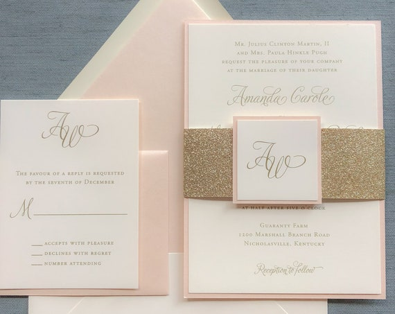Elegant Calligraphy gold and blush thermography wedding invitation