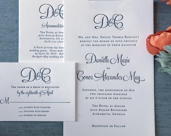 Letterpress Modern Calligraphy Monogram