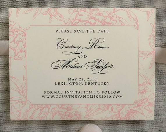 Peony Toile Save the Date Cards