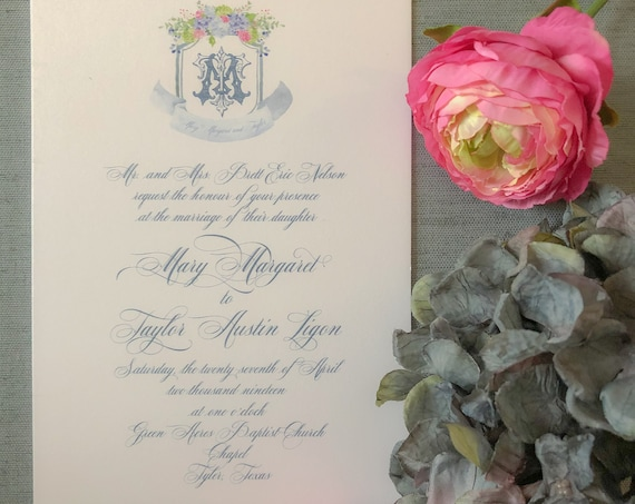 Watercolor Floral Crest and Victorian Monogram