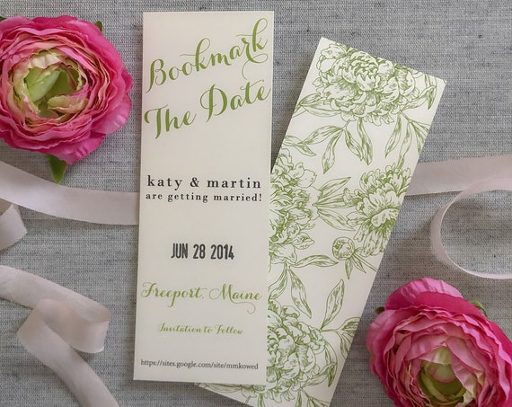 Bookmark the Date Save the Date Cards
