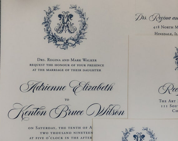 Victorian Magnolia Wreath navy blue thermography wedding invitation