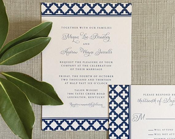 Moroccan Tile thermography wedding invitation sample