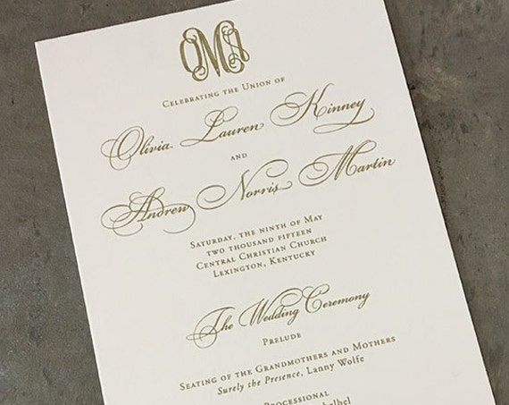 Engraved Monogram wedding ceremony program, wide tea length style with gold ink