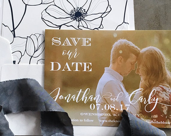Romantic Script Save the Date Cards