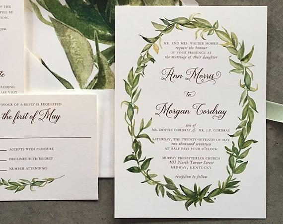 Watercolor Greenery wedding invitation suite