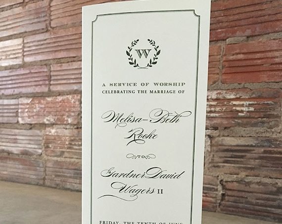 Equestrian Laurel Wreath tea length folded wedding ceremony program