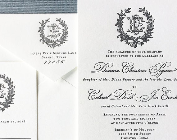 Victorian Magnolia Wreath letterpress wedding invitation (Sample)