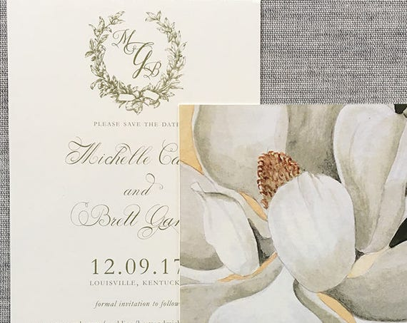 Magnolia Wreath Save the Date Cards